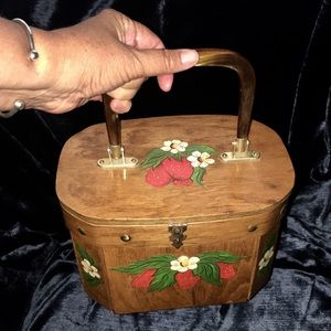 Vintage Wooden purse decoupage strawberries lucite